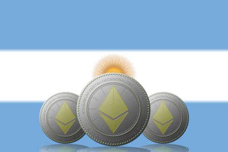 3D ILLUSTRATION Three ETHEREUM cryptocurrency with ARGENTINA flag on background. 版權商用圖片 - 132030895