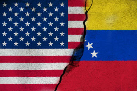Relationships between countries United States and Venezuela. 版權商用圖片 - 132030896