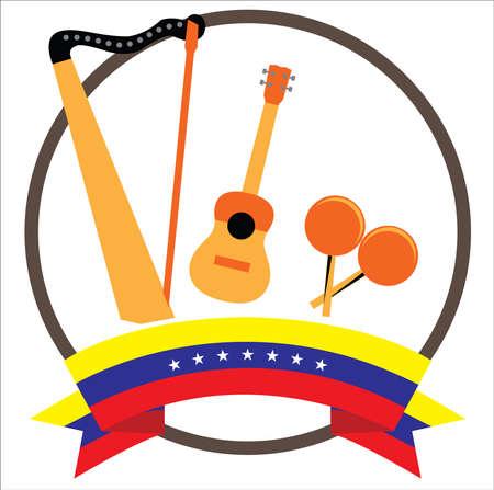 Harp, Cuatro and Maracas Venezuelan and colombian musical instruments with seven stars Venezuela's flag 版權商用圖片 - 125603223