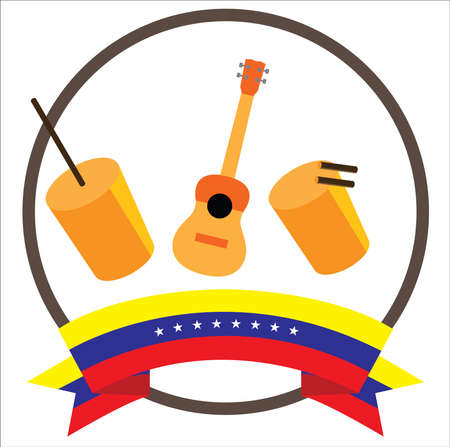 Furruco, Cuatro and Tambora Venezuelan Gaitas musical instruments with eight stars Venezuelas flag 向量圖像