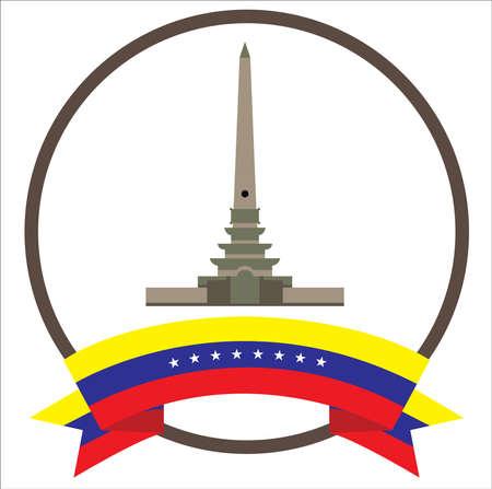 Altamiras Obelisk city iconic symbol in Caracas with eight stars Venezuelas flag 向量圖像