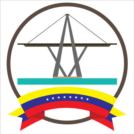 Maracaibos Bridge iconic symbol in Venezuela with eight stars Venezuelas flag Illustration
