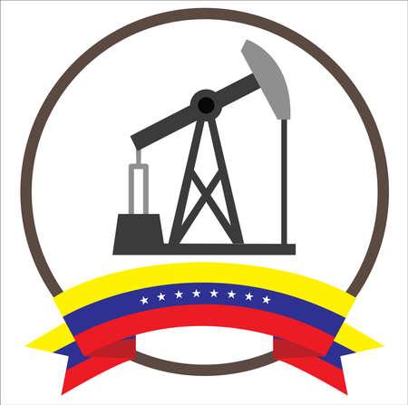 Oil Well Pump Jack with Venezuelas eight stars flag 向量圖像