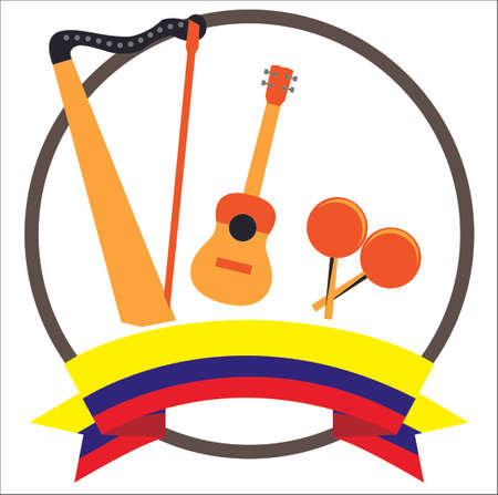 Harp, Cuatro and Maracas Venezuelan and colombian musical instruments with Colombia's flag 版權商用圖片 - 125603231