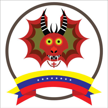 Diablos de Yare, Yare Devils Mask with eight stars Venezuela's flag. Recognized by UNESCO as Intangible Cultural Heritage of Humanity in 2012. Иллюстрация