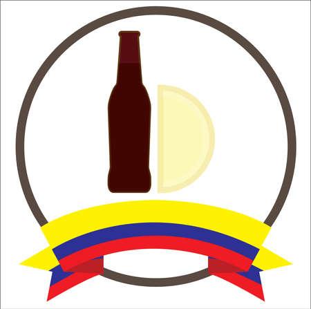 Empanada y malta, colombian typical food with Colombias flag.