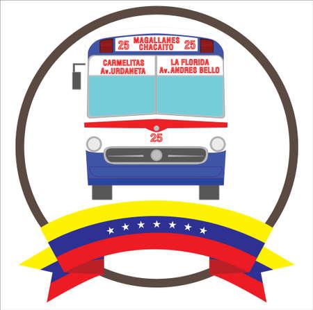 Vintage Iconic bus from Caracas Venezuela with seven stars Venezuelas flag. 向量圖像