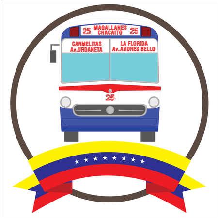 Vintage Iconic bus from Caracas Venezuela with eight stars Venezuelas flag.