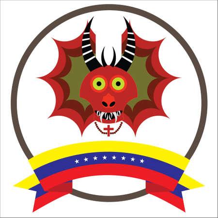 Diablos de Yare, Yare Devils Mask with eight stars Venezuelas flag.