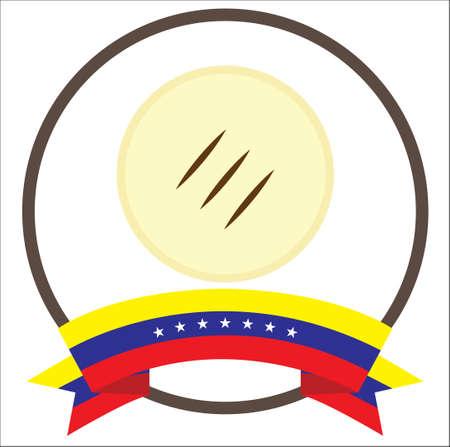 Arepa, venezuelan typical food with seven stars Venezuela flag. 向量圖像
