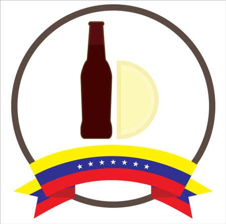 Empanada y malta, venezuelan typical food with seven stars Venezuela flag.