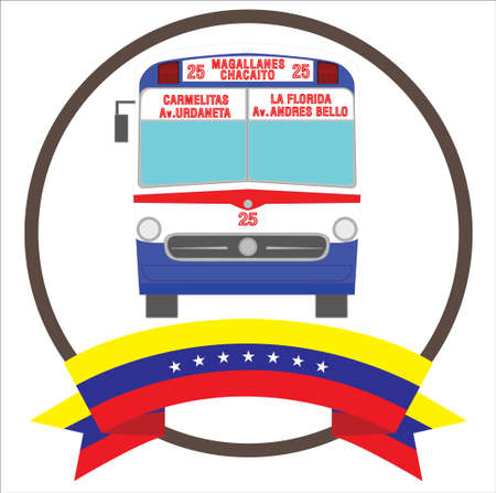 Vintage Iconic bus from Caracas Venezuela with seven stars Venezuela flag.