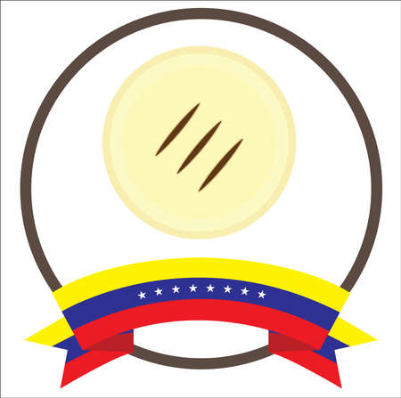 Arepa, venezuelan typical food with eight stars Venezuela flag. 向量圖像