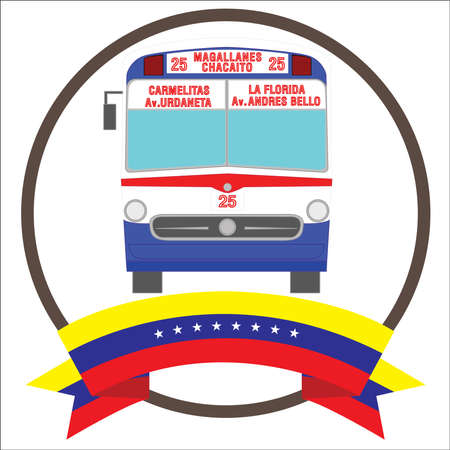 Vintage Iconic bus from Caracas Venezuela with eight stars Venezuela flag.