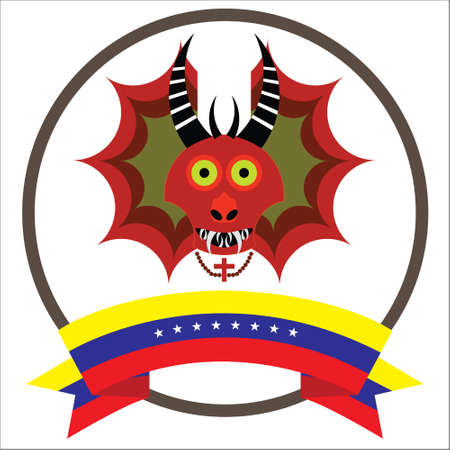Diablos de Yare, Yare Devils Mask with eight stars Venezuela flag.