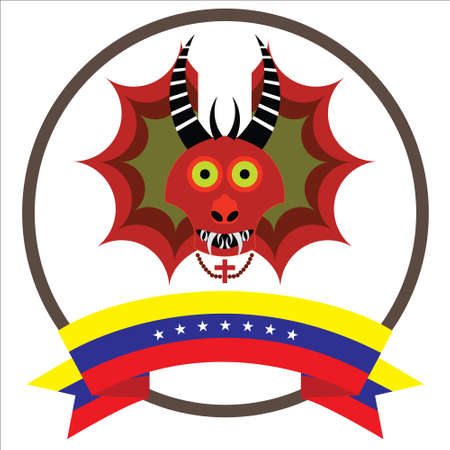 Diablos de Yare, Yare Devils Mask with seven stars Venezuela flag.