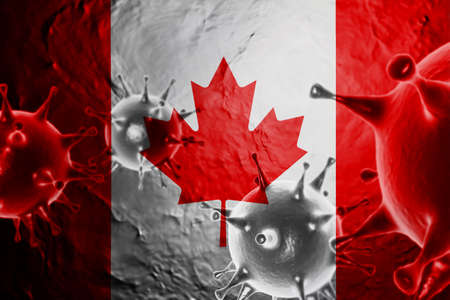 3D ILLUSTRATION VIRUS WITH CANADA FLAG, CORONAVIRUS, Flu coronavirus floating, micro view, pandemic virus infection, asian flu.