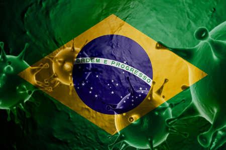 3D ILLUSTRATION VIRUS WITH BRAZIL FLAG, CORONAVIRUS, Flu coronavirus floating, micro view, pandemic virus infection, asian flu.