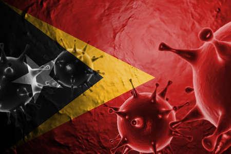 3D ILLUSTRATION VIRUS WITH Democratic Republic of Timor Leste FLAG, CORONAVIRUS, Flu coronavirus floating, micro view, pandemic virus infection, asian flu. Stock Photo