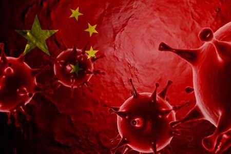 3D ILLUSTRATION VIRUS WITH China FLAG, CORONAVIRUS, Flu coronavirus floating, micro view, pandemic virus infection, asian flu.
