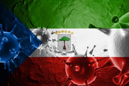 3D ILLUSTRATION VIRUS WITH Equatorial Guinea FLAG, CORONAVIRUS, Flu coronavirus floating, micro view, pandemic virus infection, asian flu.