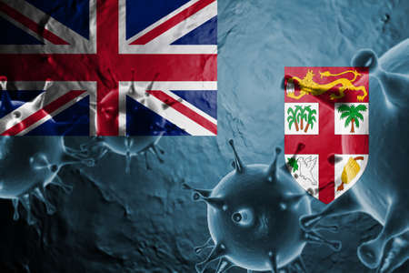 3D ILLUSTRATION VIRUS WITH Fiji FLAG, CORONAVIRUS, Flu coronavirus floating, micro view, pandemic virus infection, asian flu.