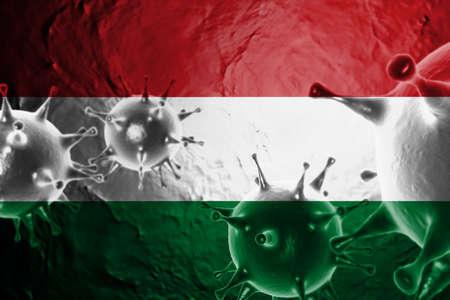 3D ILLUSTRATION VIRUS WITH Hungary FLAG, CORONAVIRUS, Flu coronavirus floating, micro view, pandemic virus infection, asian flu.