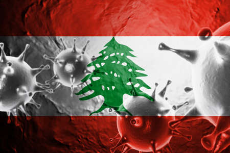 3D ILLUSTRATION VIRUS WITH Lebanon FLAG, CORONAVIRUS, Flu coronavirus floating, micro view, pandemic virus infection, asian flu. Stock Photo