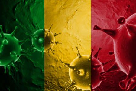 3D ILLUSTRATION VIRUS WITH Mali FLAG, CORONAVIRUS, Flu coronavirus floating, micro view, pandemic virus infection, asian flu.