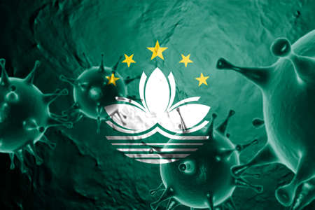 3D ILLUSTRATION VIRUS WITH Macau FLAG, CORONAVIRUS, Flu coronavirus floating, micro view, pandemic virus infection, asian flu. Stock Photo