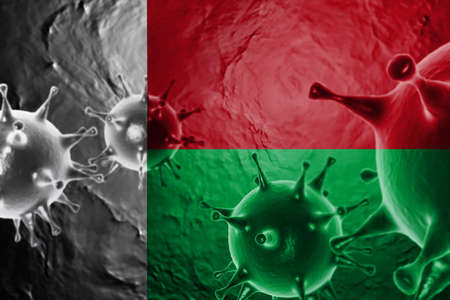 3D ILLUSTRATION VIRUS WITH Madagascar FLAG, CORONAVIRUS, Flu coronavirus floating, micro view, pandemic virus infection, asian flu. Stock Photo