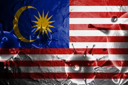 3D ILLUSTRATION VIRUS WITH Malaysia FLAG, CORONAVIRUS, Flu coronavirus floating, micro view, pandemic virus infection, asian flu.