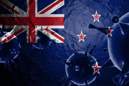 3D ILLUSTRATION VIRUS WITH New Zealand FLAG, CORONAVIRUS, Flu coronavirus floating, micro view, pandemic virus infection, asian flu.