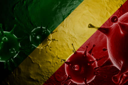 3D ILLUSTRATION VIRUS WITH Republic of the Congo FLAG, CORONAVIRUS, Flu coronavirus floating, micro view, pandemic virus infection, asian flu.