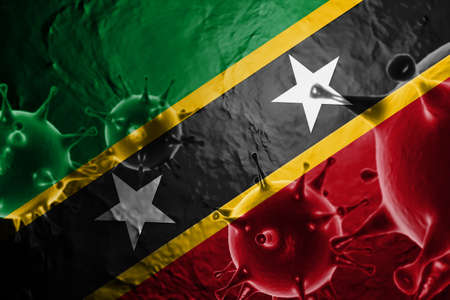 3D ILLUSTRATION VIRUS WITH Saint Kitts and Nevis FLAG, CORONAVIRUS, Flu coronavirus floating, micro view, pandemic virus infection, asian flu.