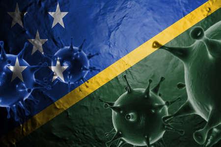 3D ILLUSTRATION VIRUS WITH Solomon Islands FLAG, CORONAVIRUS, Flu coronavirus floating, micro view, pandemic virus infection, asian flu.