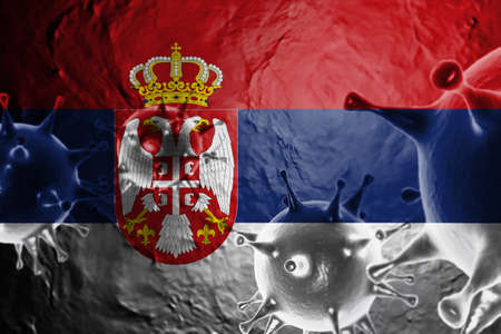 3D ILLUSTRATION VIRUS WITH Serbia FLAG, CORONAVIRUS, Flu coronavirus floating, micro view, pandemic virus infection, asian flu.
