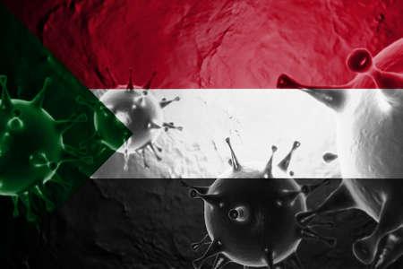 3D ILLUSTRATION VIRUS WITH Sudan FLAG, CORONAVIRUS, Flu coronavirus floating, micro view, pandemic virus infection, asian flu.