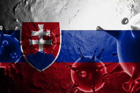 3D ILLUSTRATION VIRUS WITH Slovakia FLAG, CORONAVIRUS, Flu coronavirus floating, micro view, pandemic virus infection, asian flu.