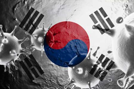 3D ILLUSTRATION VIRUS WITH South Korea FLAG, CORONAVIRUS, Flu coronavirus floating, micro view, pandemic virus infection, asian flu.