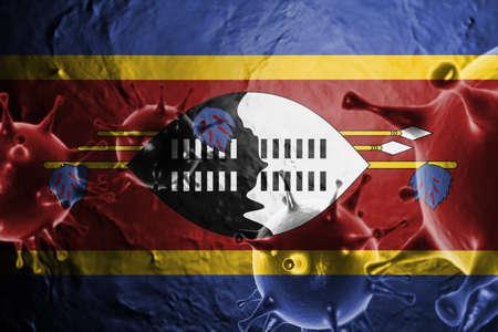 3D ILLUSTRATION VIRUS WITH Swaziland FLAG, CORONAVIRUS, Flu coronavirus floating, micro view, pandemic virus infection, asian flu. Stock Photo