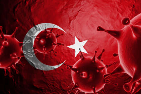 3D ILLUSTRATION VIRUS WITH TURKEY FLAG, CORONAVIRUS, Flu coronavirus floating, micro view, pandemic virus infection, asian flu.