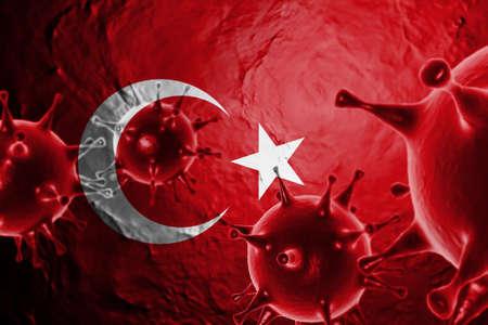 3D ILLUSTRATION VIRUS WITH TURKEY FLAG, CORONAVIRUS, Flu coronavirus floating, micro view, pandemic virus infection, asian flu.