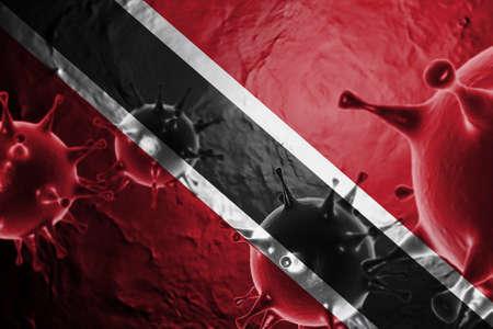 3D ILLUSTRATION VIRUS WITH Trinidad and Tobago FLAG, CORONAVIRUS, Flu coronavirus floating, micro view, pandemic virus infection, asian flu.