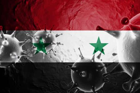 3D ILLUSTRATION VIRUS WITH Syria FLAG, CORONAVIRUS, Flu coronavirus floating, micro view, pandemic virus infection, asian flu.