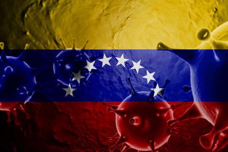 3D ILLUSTRATION VIRUS WITH VENEZUELA FLAG, CORONAVIRUS, Flu coronavirus floating, micro view, pandemic virus infection, asian flu.