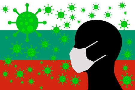 Human using a Mouth Face Masks or  Mouth Cover ro surrounded wiht virus with BULGARIA flag