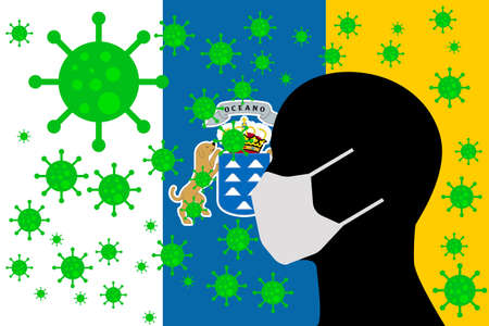 Human using a Mouth Face Masks or  Mouth Cover ro surrounded wiht virus with CANARY ISLANDS flag 版權商用圖片 - 153996828