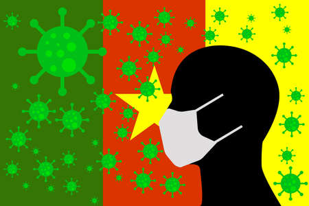Human using a Mouth Face Masks or  Mouth Cover ro surrounded wiht virus with CAMEROON flag 向量圖像