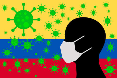 Human using a Mouth Face Masks or Mouth Cover  surrounded with virus with Colombia flag 版權商用圖片 - 154251054